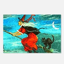 Cute Witch%27s broom moon Postcards (Package of 8)