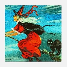 Unique Witch%27s broom moon Tile Coaster