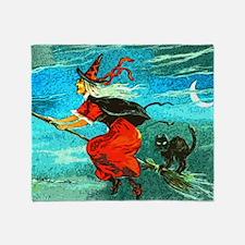 Unique Witch%27s broom moon Throw Blanket