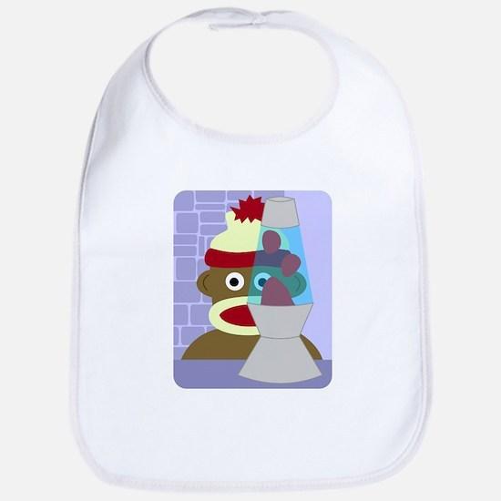 Sock Monkey Lava Lamp Baby Bib