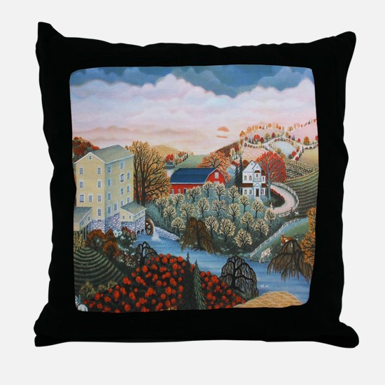 Cute Folk art Throw Pillow