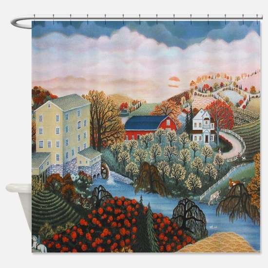 Cute Folk art Shower Curtain