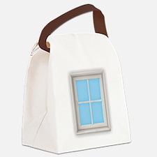 Window Blue Canvas Lunch Bag