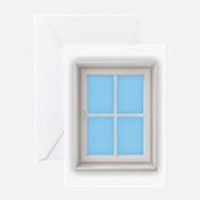 Window Blue Greeting Cards