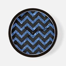 CHEVRON9 BLACK MARBLE & BLUE MARBLE (R) Wall Clock