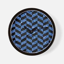 CHEVRON1 BLACK MARBLE & BLUE MARBLE Wall Clock