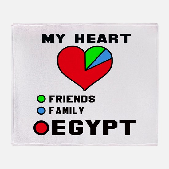 My Heart Friends, Family and Egypt Throw Blanket