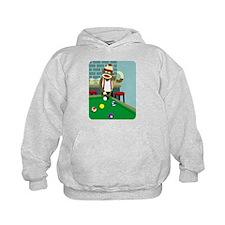 Sock Monkey Pool Player Kids Hooded Sweatshirt
