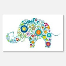 Colorful Retro Floral Elephant Decal