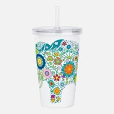 Colorful Retro Floral Acrylic Double-wall Tumbler