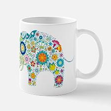 Colorful Retro Floral Elephant Mugs