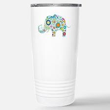 Colorful Retro Floral E Thermos Mug