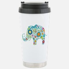 Colorful Retro Floral E Travel Mug