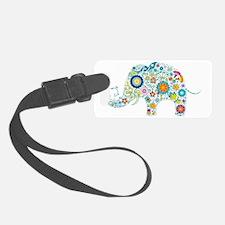 Colorful Retro Floral Elephant Luggage Tag