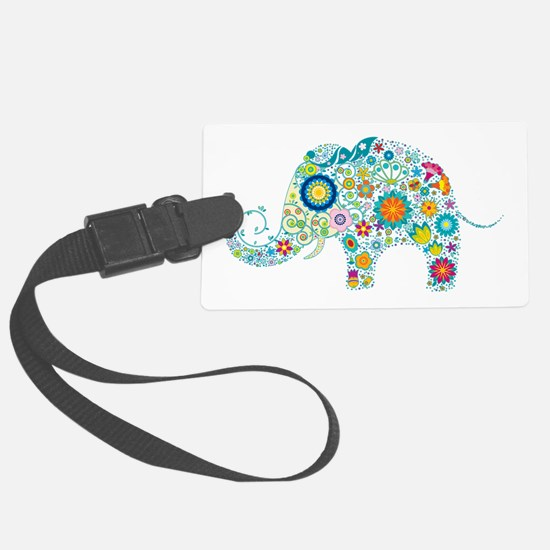 Colorful Retro Floral Elephant Large Luggage Tag