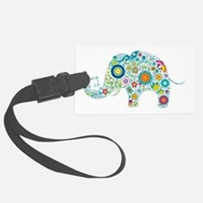 Colorful Retro Floral Elephant Luggage Tag