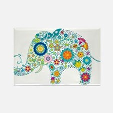 Colorful Retro Floral Elephant Magnets