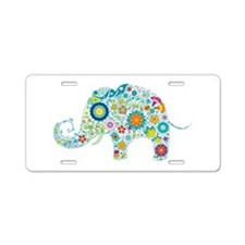 Colorful Retro Floral Eleph Aluminum License Plate
