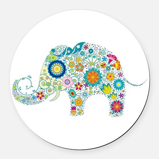 Colorful Retro Floral Elephant Round Car Magnet