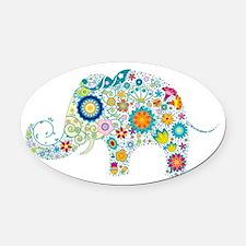 Colorful Retro Floral Elephant Oval Car Magnet