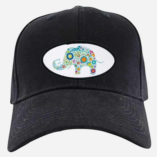 Colorful Retro Floral Elephant Baseball Hat