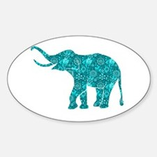 Blue-Green Retro Floral Elephant Decal