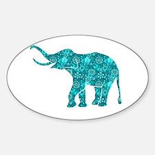 Blue-Green Retro Floral Elephant Decal