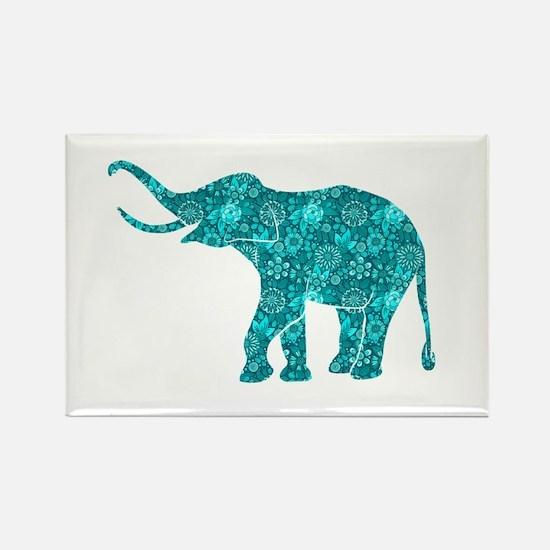 Blue-Green Retro Floral Elephant Magnets