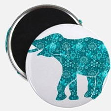 Blue-Green Retro Floral Elephant Magnets