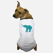 Blue-Green Retro Floral Elephant Dog T-Shirt