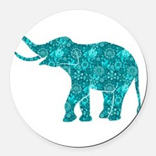 Blue-Green Retro Floral Elephant Round Car Magnet