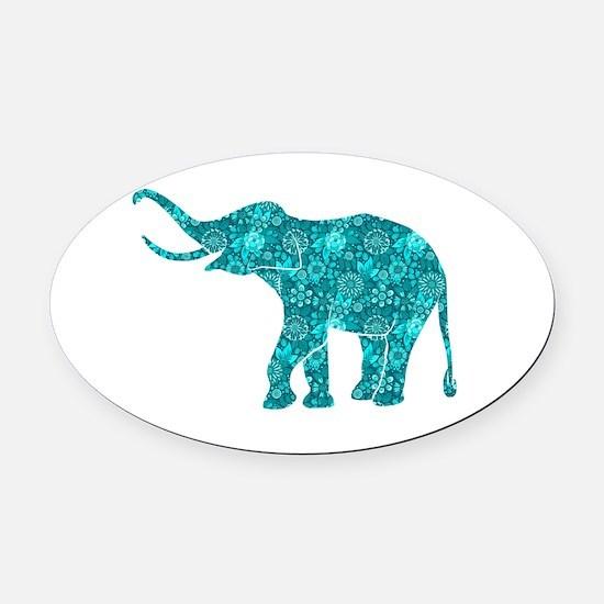 Blue-Green Retro Floral Elephant Oval Car Magnet