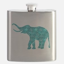 Blue-Green Retro Floral Elephant Flask