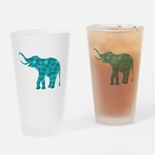 Blue-Green Retro Floral Elephant Drinking Glass
