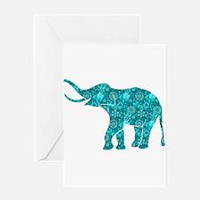 Blue-Green Retro Floral Elephant Greeting Cards