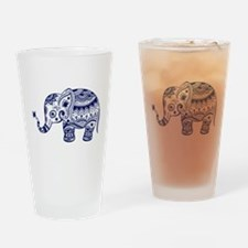 Cute Floral Elephant In Navy Blue Drinking Glass