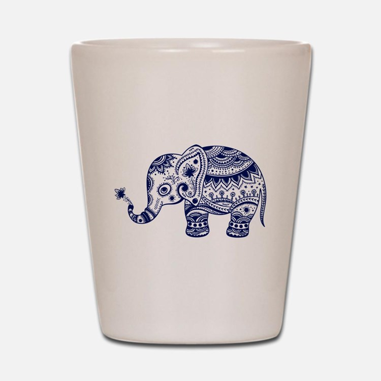 Cute Floral Elephant In Navy Blue Shot Glass
