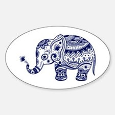 Cute Floral Elephant In Navy Blue Decal