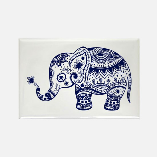 Cute Floral Elephant In Navy Blue Magnets