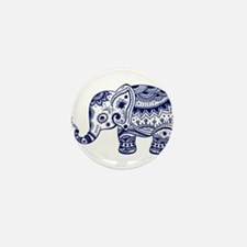 Cute Floral Elephant In Navy Blue Mini Button