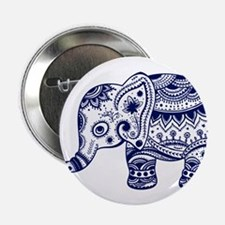 """Cute Floral Elephant In Nav 2.25"""" Button (10 pack)"""