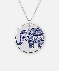 Cute Floral Elephant In Navy Necklace