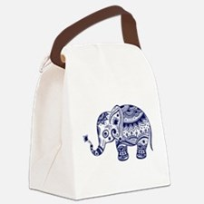Cute Floral Elephant In Navy Blue Canvas Lunch Bag
