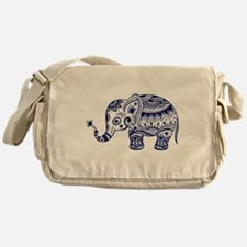 Cute Floral Elephant In Navy Blue Messenger Bag