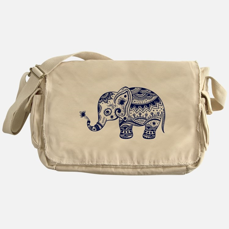 Cute Floral Elephant In Navy Blue Messenger Bag
