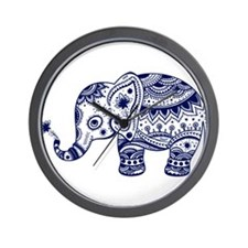 Cute Floral Elephant In Navy Blue Wall Clock