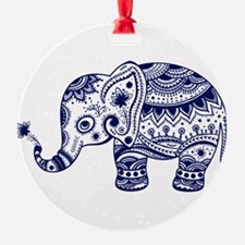 Cute Floral Elephant In Navy Blue Ornament