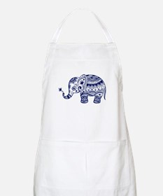 Cute Floral Elephant In Navy Blue Apron