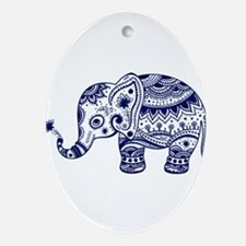 Cute Floral Elephant In Navy Blue Oval Ornament