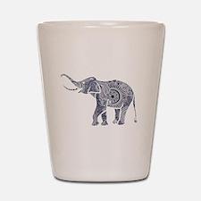 Navy Blue & White Ornate Swirls Elephan Shot Glass